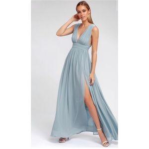 XS LULU HEAVENLY HUES LIGHT BLUE MAXI DRESS